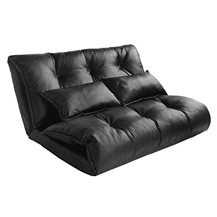 Amazon.com: MIERES Leather Chair Adjustable Sofa Bed Lounge ...