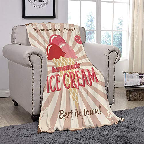 YOLIYANA Light Weight Fleece Throw Blanket/Ice Cream Decor,Vintage Sign with Homemade Ice Cream Best in Town Quote Print Decorative,Red Coral Cream Tan/for Couch Bed Sofa for Adults Teen Girls Boys