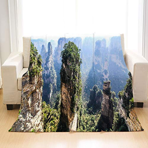 BEIVIVI Personality Design Home Soft Throw Blanket Tianzi Shan Mountain Peak in Zhangjiajie Hunan Province China Blanket for Home Travel Camping Hiking ()