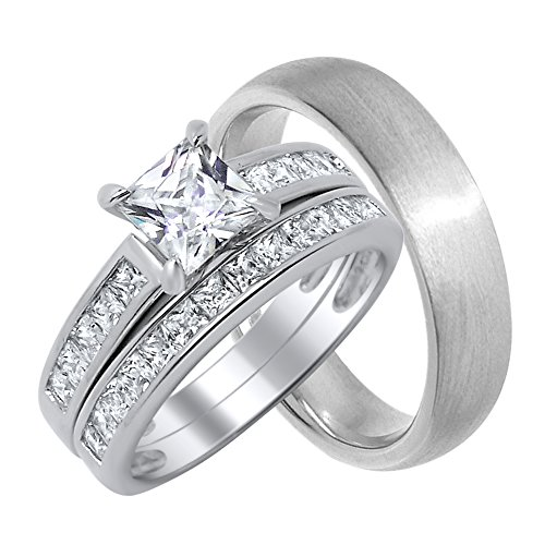- His and Her Wedding Ring Sets Matching Bands for Him and Her (9/12)