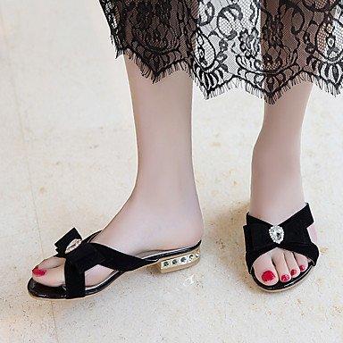 YFF Sandales femmes Talon en similicuir noir,US5.5 Boucle