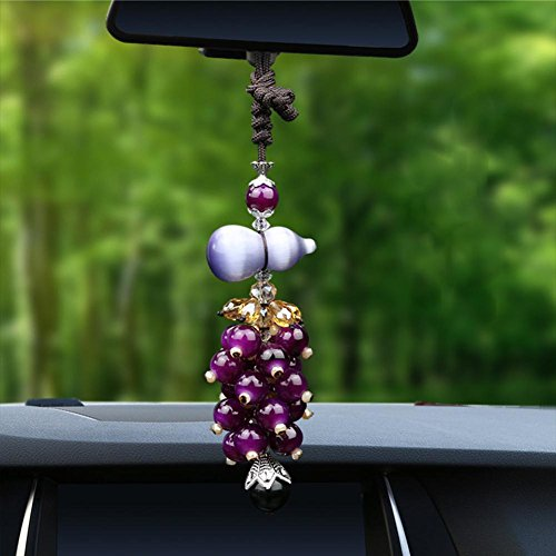 Alloet Car Interior Decoration Calabash Shape Opal Crystal Pendant(Purple)