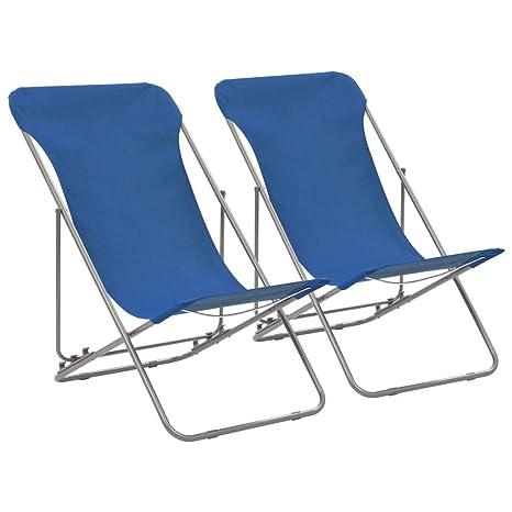 vidaXL 2X Sillas de Playa Plegables Hierro Tela Oxford Azul ...