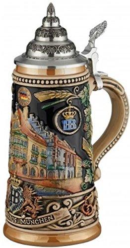 German Beer Stein Munich Hofbräuhaus München HB relief stein 0.5 liter tankard, beer mug King Werk KI 1000176