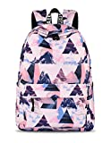 Yanaier Teenage Backpacks for Girls Waterproof Canvas Print Cute Backpack Casual Daypack Lightweight SchoolBags Women Pink Triangle