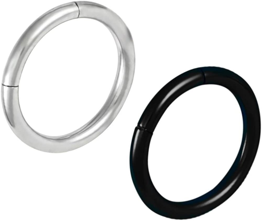 Black Titanium Segment Lip Ring Bottom Side Hoop Piercing 16 gauge 16g