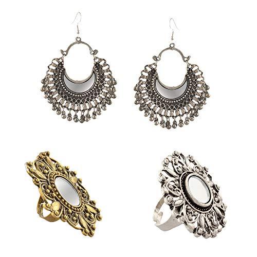 Zephyrr Afghani German Silver Chandbali Earrings/Rings Mirror Work Combo Of 3