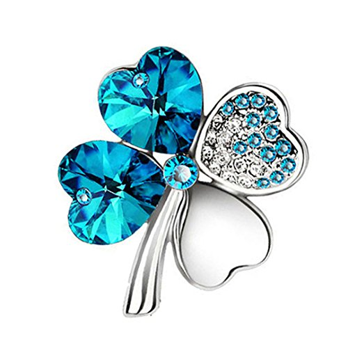 Austrian Crystal Four Leaf Clover Brooch Women Accessories Fashion Jewelry 9554 silver - Sterling Pins Lion Lapel Silver