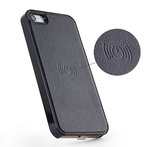 Antye Qi Wireless Charging Receiver Case iPhone SE 5 5S, Leather Finish Slim Fit Back Cover Flexible Connector