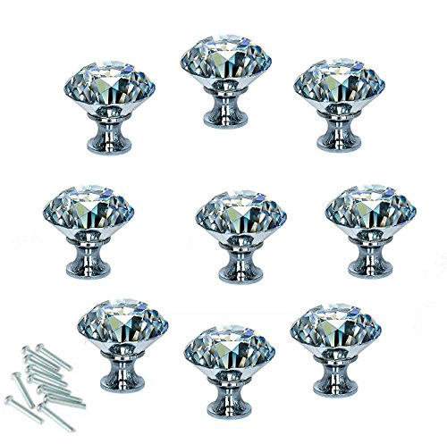 HOSL 10PCS 40MM Diamond Shape Crystal Glass Cabinet Knob Cupboard Drawer Pull Handle/Great for Cupboard, Kitchen and Bathroom Cabinets, Shutters, etc