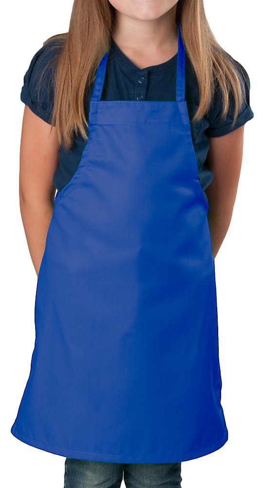 6 Pack -Royal Blue Kids Apron, Medium Bib