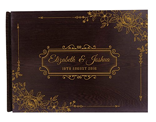 Personalized Wood Wooden Floral Engraved Bride & Groom Advice Book Personalized Rustic Wedding Guest Book - 50 Pages