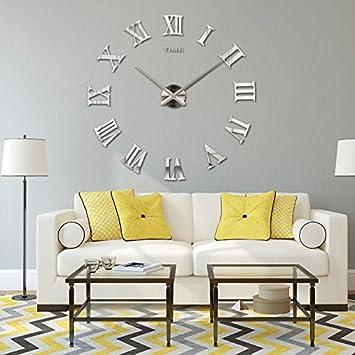 [reloj de pared] 3d DIY moderno reloj para decoración espejo salón casa bureau-iisport relojes murales: Amazon.es: Hogar