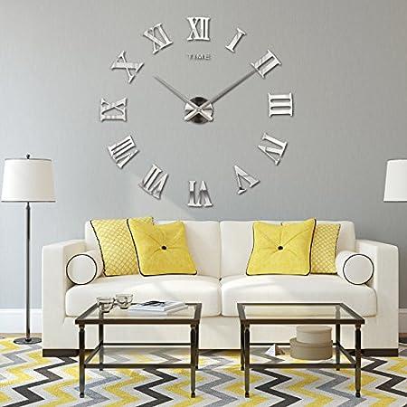 Wawoo luxury large size roman numerals numbers diy frameless quartz 3d mirror wall clock sticker decals