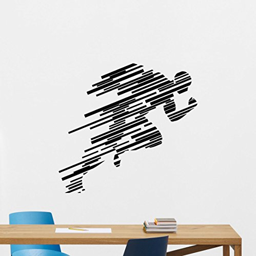 Runner Wall Decal Running Run Print Gym Fitness Workout Sport Poster Vinyl Sticker Kids Teen Boy Room Nursery Bedroom Wall Art Decor Mural 97nnn