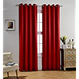 Attractive MYSKY HOME Solid Grommet Top Thermal Insulated Window Blackout Curtains For Dining  Room, 52 X 84 Inch, Red, 1 Panel Part 27