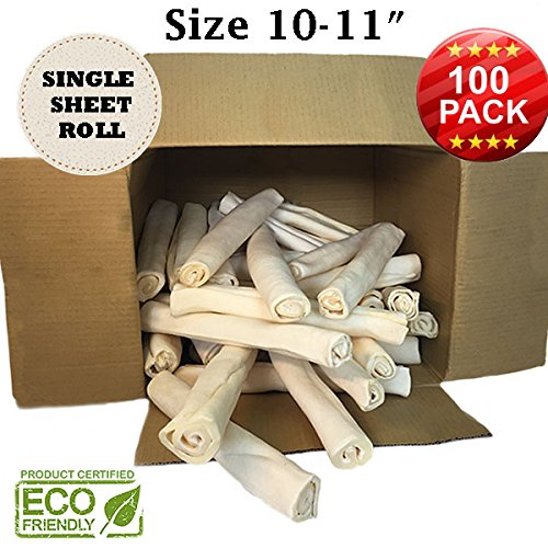 Premium Retriever Rolls - Size 10''-11'' - 100 Pack - 100% Natural - USDA/FDA Approved by Brazilian Pet
