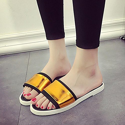 DM&Y 2017 Uno de palabras sandalias femeninas plana con zapatos planos deslizadores de la playa del verano ocasional Blue