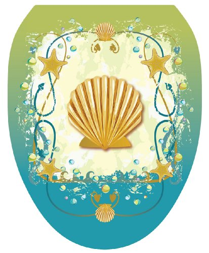 Toilet Tattoos TT-1017-O Shell Game Decorative Applique For Toilet Lid, Elongated by Toilet Tattoos