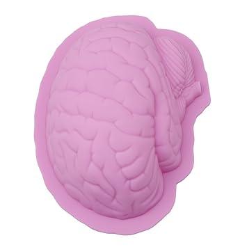 maikerry cerebro Jello moldn cerebro humano forma pan molde para horno de silicona Halloween Jelly abrasivos