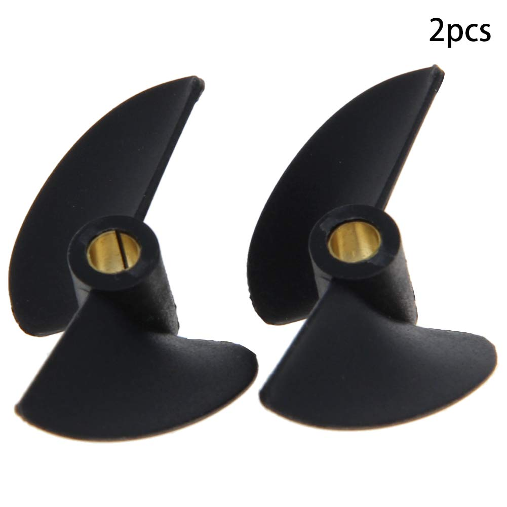 Fielect 3Pcs Two Blade Propeller for Ship Model Refitting DIY Technology Model Black Plastic Positive Paddle 27mm Diameter 1.4 Pitch 3.18mm Hole Dia