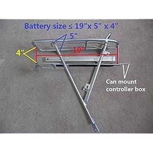 "Electric bike battery rear rack fits 26""-29"" bike frame slide rail rear rack silver Alum super light"