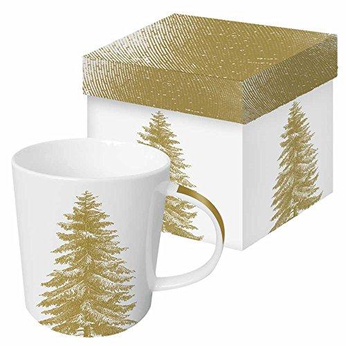 Paperproducts Design Gift Boxed Porcelain Mug, 13.5 oz, Botanical Engraved Tree-Gold, Multicolor ()