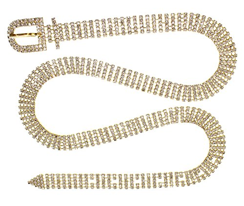 Crystal Rhinestone Chain Waist Buckle Belt Fashion Accessory for Women (5 Line, - Belt Jean Chain
