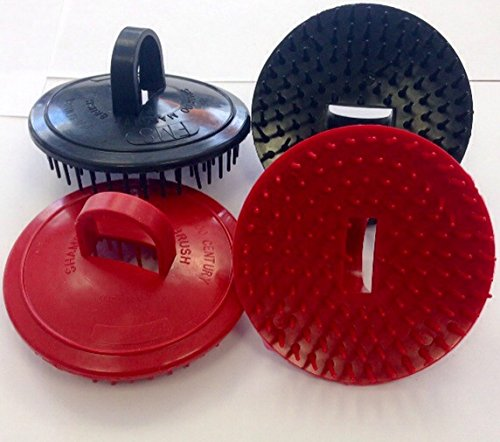 Shampoo Scalp Massage Brush Century #100 * Made in USA * 4 Pack (2 Black and 2 Red Brushes) (Scalp Scrubber Brush compare prices)
