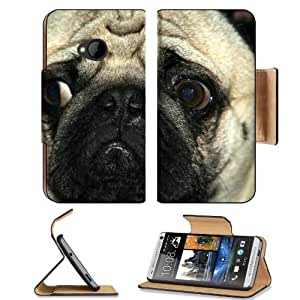 Animals Dogs Pugs Sad Depressed HTC One M7 Flip Cover Case with Card Holder Customized Made to Order Support Ready Premium Deluxe Pu Leather 5 11/16 inch (145mm) x 2 15/16 inch (75mm) x 9/16 inch (14mm) MSD HTC One Professional Cases Accessories Open Came