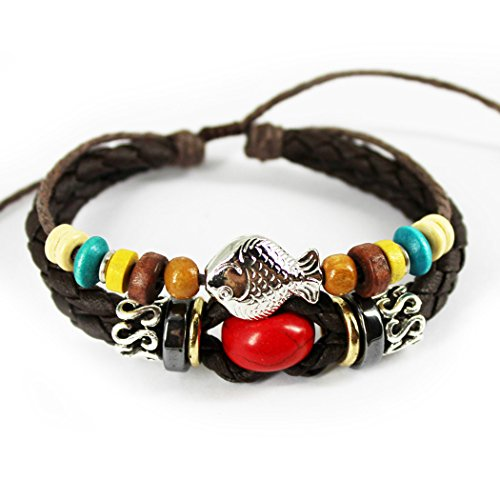 [Real Spark Handmade Woven Braided Leather Colorful Bead Fish Pendant Adjustable Wrap Bracelet Red] (Black Russian Male Adult Costumes)