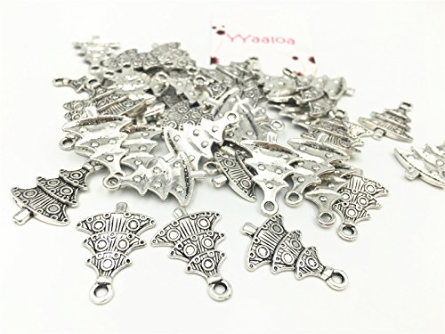 YYaaloa 50pcs Antique silver Alloy Tone Christmas Tree Charms Pendant for Crafting, Jewelry Making Accessory (Christmas Tree 50pcs Silver) Antique Silver Tree Pendant
