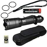 MecArmy SPX 18 SUPER BUNDLE w/ Tactical LED Flashlight, Rechargeable 18650 Battery, Holster, Lanyard, Mini USB Light