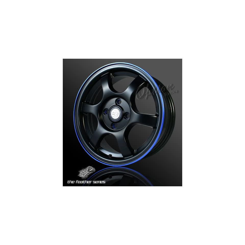 6 Spoke Racing Wheel Black W/ Blue Lip JDM Style Rim 15 Inch 5x114.3 +40 Set Of 4