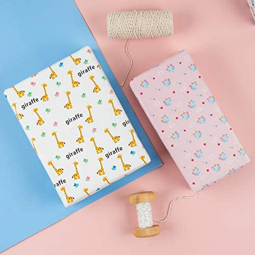 MAYPLUSS Wrapping Paper Sheet - FoldedFlat - 10 Sheets - 5 Different Animal Design (37.4 squareft.TTL.) - 19.6 inch X 27.5 inch Per Sheet