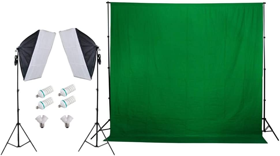 Fodoto 900w Photo Video Continuous Softbox Lighting Kit Green Backdrop Kit w//Stand