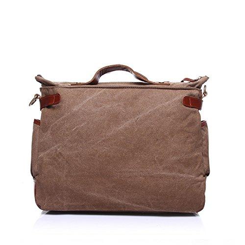Shoulder Bag Retro Simple Sunbobo Canvas Canvas Brown Bag Zipper Bag HwqOpY