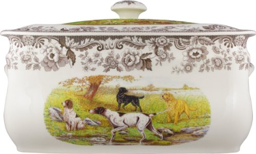 Spode Woodland Hunting Dogs 16-Inch by 8- 1/2-Inch by 9- 1/2-Inch Bread Bin, Hunting Dogs by Spode