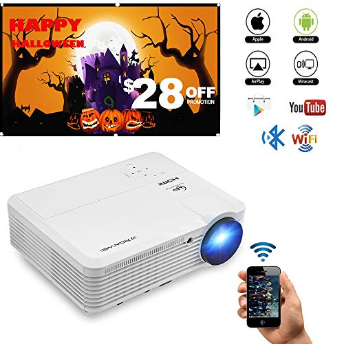 Bluetooth Wireless WiFi HDMI Video Projector 4600 Lumen LCD LED Multimedia Support Full HD 1080p Movie Gaming Projector Android 6.0 Home Theater Multimedia HDMI USB VGA AV for iPhone Mac PC Laptop TV