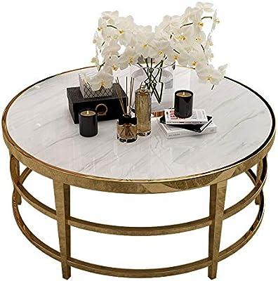 mesas de Centro Mesa de Centro Moderna de mármol Blanco Redondo de ...