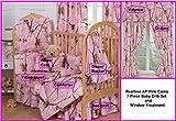 Camo Realtree AP Pink 7 Pc Baby Crib Set and Window Treatment Gift Set