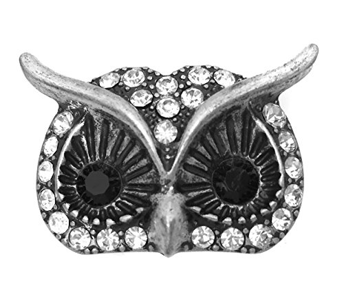 Gypsy Jewels Large Animal Rhinestone Statement Big Stretch Cocktail Ring (Owl Face Silver Tone)