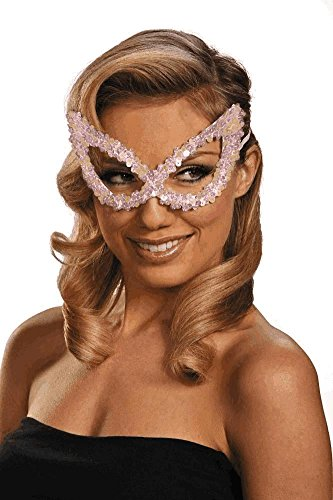 Disguise Pearlescent White Sequin Harlequin Eye Mask ()