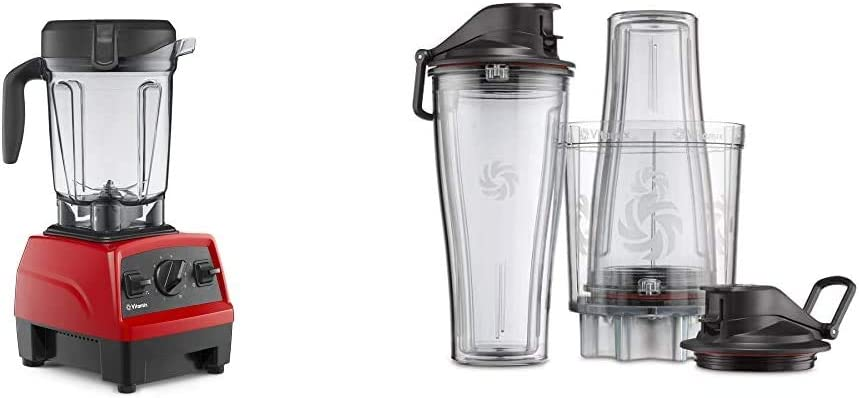 Vitamix Explorian Blender, Professional-Grade, 64 oz. Low-Profile Container, Red (Renewed) & Personal Cup Adapter - 61724