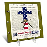 3dRose dc_22367_1 Declaration of Independence Background with Christian Cross in USA Colors Desk Clock, 6 by 6-Inch