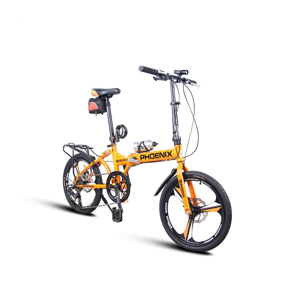 TD Faltbare fürrad Variable Geschwindigkeit 20 Zoll vorne und hinten Stoßdämpfer Frauen Männer Erwachsene Student fürrad Sport Folding Multi-Speed  hift (Farbe   Schwarz Gelb