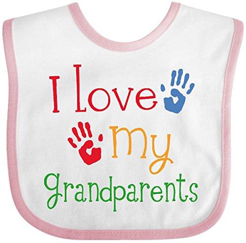 Inktastic I Love My Grandparents Baby Bib White/Pink