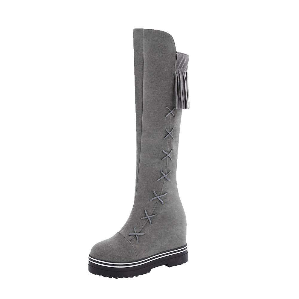 Damen Freizeit Runde ZehenQuaste Schuhe Plateau Reißverschluss Scrub Long Tube Marder Stiefel grau 36