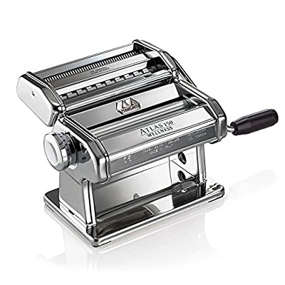 Marcato Atlas Pasta Machine, Stainless Steel, Silver, Includes Pasta Cutter, Hand Crank, and Instruction from Atlas