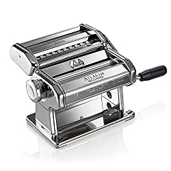 Marcato Atlas Pasta Machine, Made In Italy, Stainless Steel, Includes Pasta Cutter, Hand Crank, & Instructions